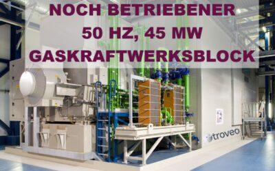 Exklusives November 2020 Top Angebot:  Zum Verkauf steht eine 15 Jahre alte, 50 Hz, 45 MW SIEMENS-Gasturbinen-Generatoranlage, noch in Betrieb und in sehr gutem Zustand